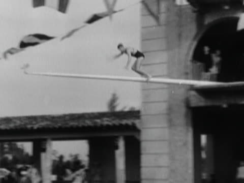 Man Falling off a Pole into Water