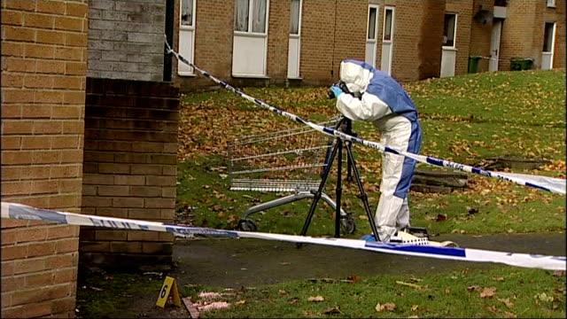 Man fatally stabbed in Sunderland ENGLAND Tyne and Wear Sunderland Washington EXT General views of cordonedoff path and gardens in housing estate...