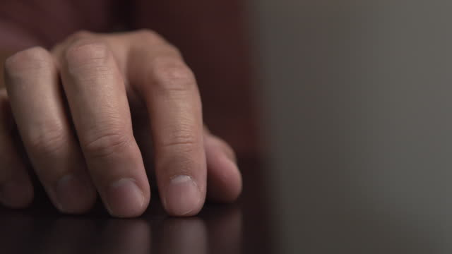 man feel nervous and tapping his finger on the desk - human hand stock videos & royalty-free footage