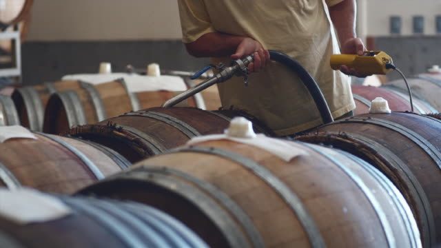 vídeos de stock, filmes e b-roll de ms man filling barrel in barrel room of winery / zillah, washington, usa        - barril