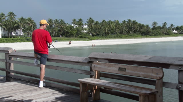 man fishing off of a pier, gulf coast of florida - scott mcpartland stock videos & royalty-free footage