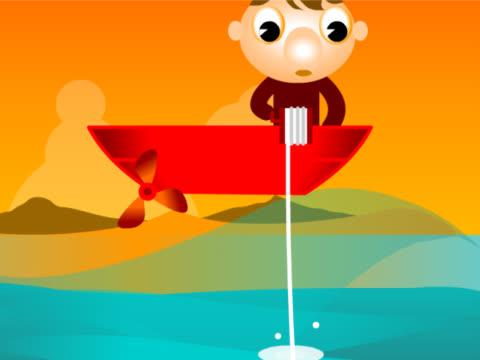 stockvideo's en b-roll-footage met man fishing on a boat - uitfaden