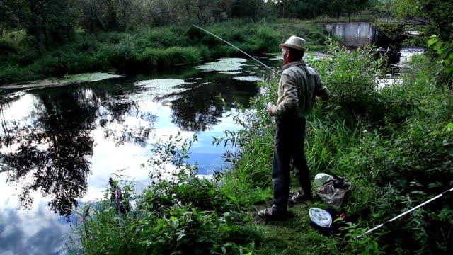 Man fishing with a fishing rod on the river