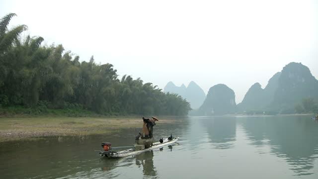 ws man fishing with birds / close to li river, guangxi, china - li river stock videos & royalty-free footage