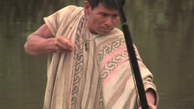 ms man fishing with bow and arrow/ manu national park, peru - peruvian ethnicity stock videos and b-roll footage