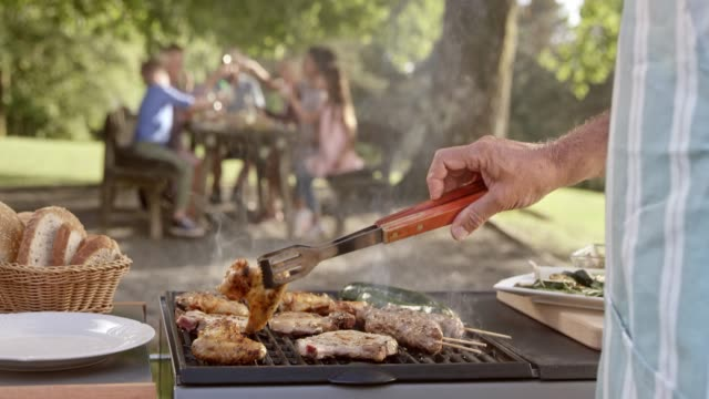 vídeos de stock e filmes b-roll de slo mo man flipping meat on the grill at a family picnic - picnic