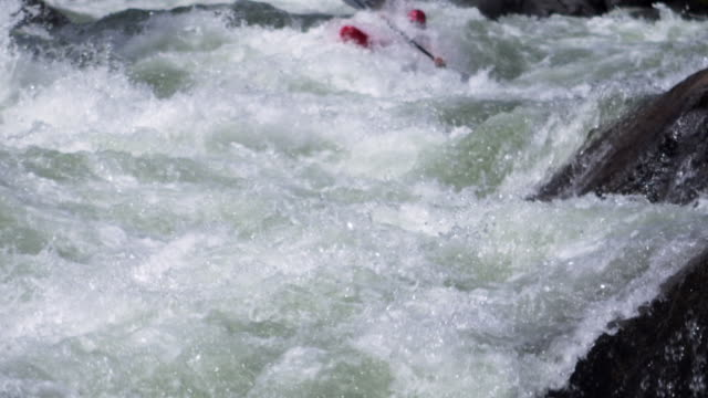ms ts slo mo man floating in his kayak in huge whitewater wave / banks, idaho, united states - newoutdoors stock videos & royalty-free footage