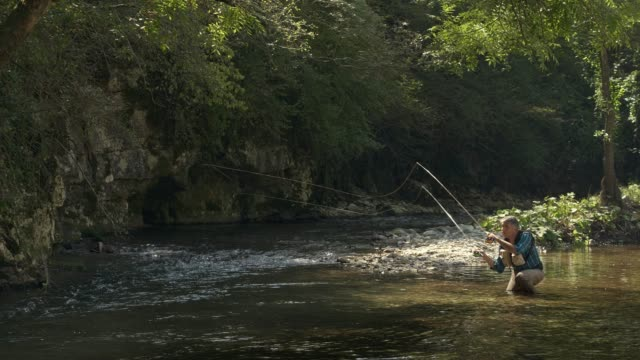man fly fishing in vermont - outdoor pursuit stock videos & royalty-free footage