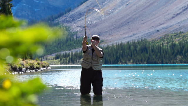 man fly fishing on a mountain lake - fly fishing stock videos and b-roll footage