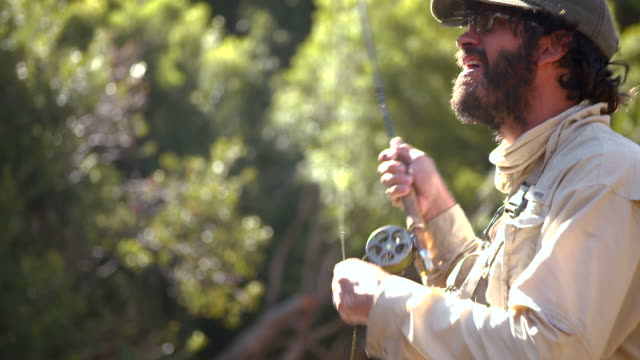 man flyfishing in a river - fly fishing stock videos and b-roll footage