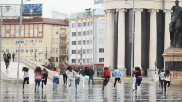a man from skopje macedonia wanted to organize a special marriage proposal for his girlfriend so he decided to put together this incredible flash mob... - celebrity sightings stock videos & royalty-free footage