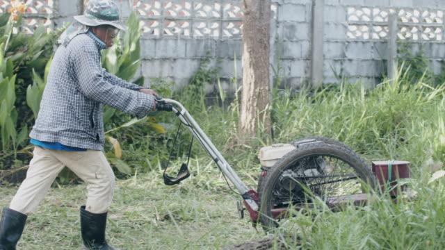 vidéos et rushes de le jardinier d'homme utilisent la tondeuse à gazon pour couper l'herbe dans le jardin d'arrière-cour à la maison. - pelouse