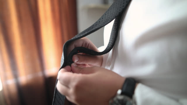man getting dressed for wedding - tie stock videos & royalty-free footage