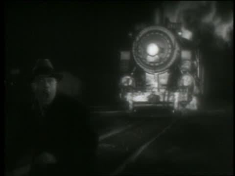 B/W man getting hit by speeding train