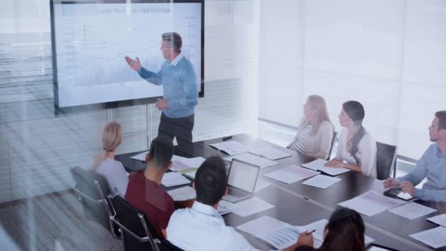 stockvideo's en b-roll-footage met man die een financiële presentatie geeft aan zijn collega's in de vergaderruimte - top vergadering