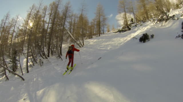 a man goes cross-country skiing. - slow motion - ski jacket stock videos & royalty-free footage