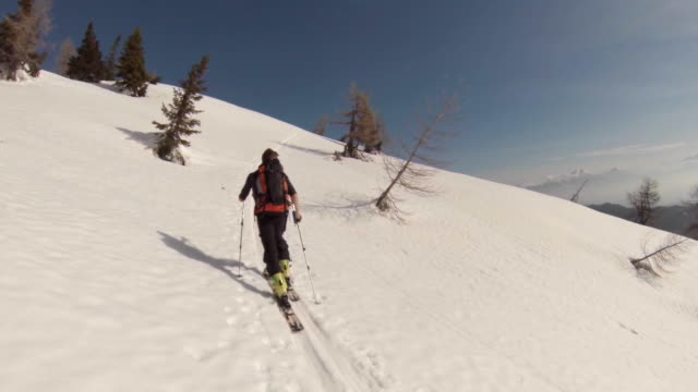 A man goes cross-country skiing. - Slow Motion
