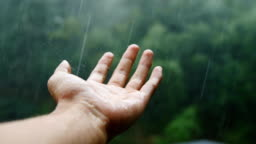 Man hand in the rain