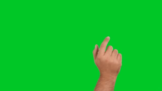 4k man hand touchscreen gestures on green screen - hand sign stock videos & royalty-free footage