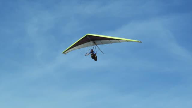 WS PAN POV Man hang gliding / Lehi, Utah, USA.