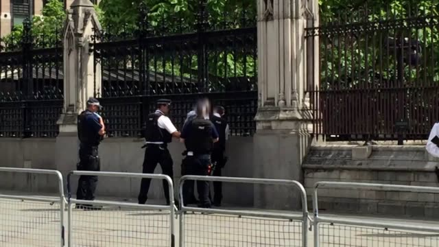 vídeos de stock, filmes e b-roll de man has been detained by armed police outside the palace of westminster. a bearded man, wearing black trousers and a grey sweatshirt, could be seen... - aprisionar
