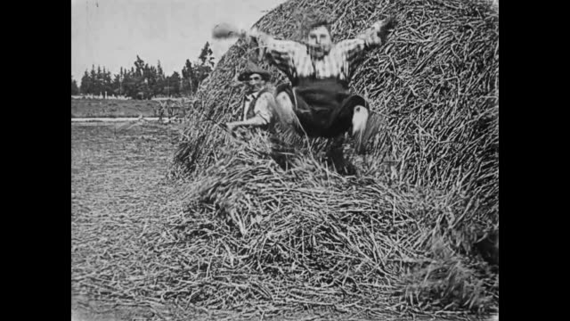 1919 man (fatty arbuckle) hiding in haystack gets jabbed by pitchfork - pitchfork stock videos & royalty-free footage
