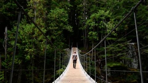man vandra över en hängbro till skogen - hängbro bildbanksvideor och videomaterial från bakom kulisserna