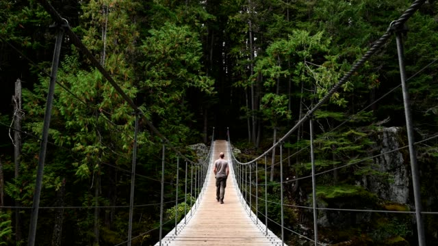man hiking across a suspension bridge to the forest - suspension bridge stock videos & royalty-free footage