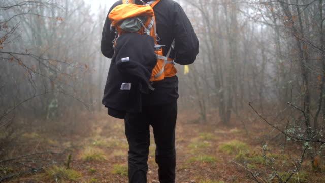 霧の森でのハイキングの人 - ウィンターコート点の映像素材/bロール