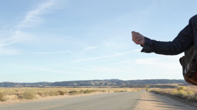 Man hitchhiking at roadside