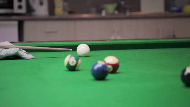 man hits cue ball on a pool table - cue ball stock videos & royalty-free footage