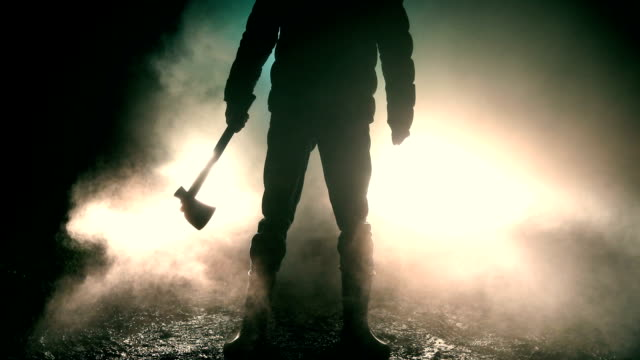 man holding axe standing in front of car - spooky stock videos & royalty-free footage