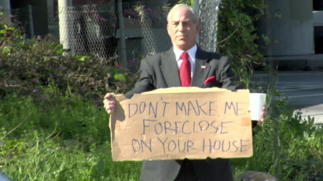 ws zi zo man holding sign saying 'don't make me foreclose on your house' on street, los angeles, california, usa - see other clips from this shoot 1458 stock videos and b-roll footage