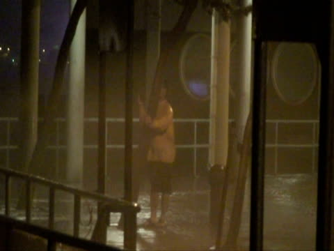 man holding tree lashed by sea spray, typhoon koppu, hong kong on night of 14th sept 2009. with audio. - 強風点の映像素材/bロール