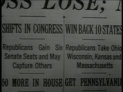 man 'i like roosevelt but i don't want him to tell me how to vote' vs cu newspaper headlines 'shifts in congress republicans make gains' ms mail... - political party stock videos & royalty-free footage