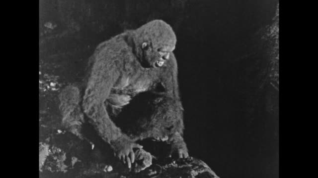 1925 Man in ape suit hangs out with live chimpanzee in cave