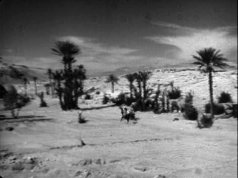 man in arabian dress riding horse quickly through desert valley studded with palm trees arab horseman in desert on january 01 1956 in unspecified - studded stock videos and b-roll footage