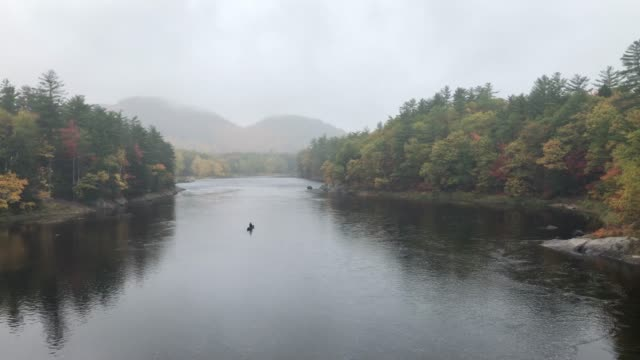 vidéos et rushes de man in canoe paddling up androscoggin river in gilead, maine usa during autumn - maine