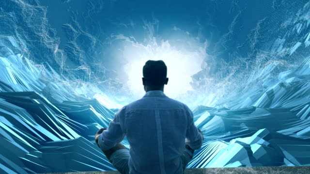 Man in digital tunnel. Meditating in virtual reality