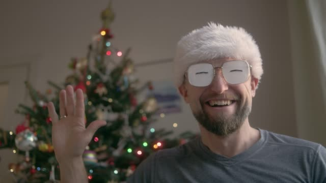 Man in Funny eyeglasses in Christmas.
