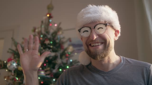 man in funny eyeglasses in christmas. - funny merry christmas greetings stock videos & royalty-free footage