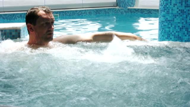 man in hot tub (hd) - bubble bath stock videos & royalty-free footage