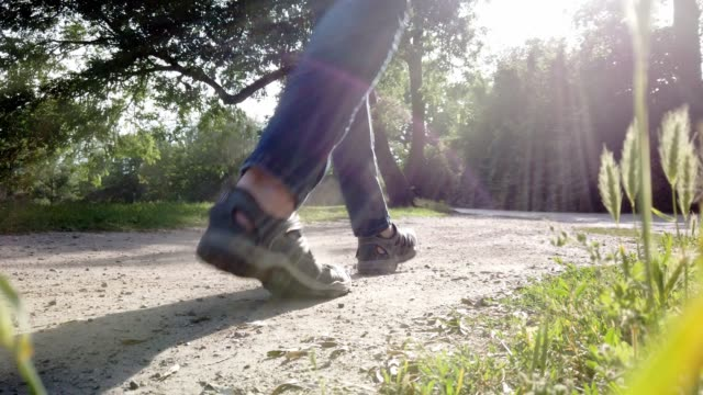 man in jeans is walking in the sunshine on dusty path. - tina terras michael walter stock videos & royalty-free footage
