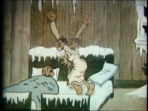 1934 animated man in pajamas (jeff) hitting other man (mutt) sleeping in bed / feature - 1934 stock videos & royalty-free footage