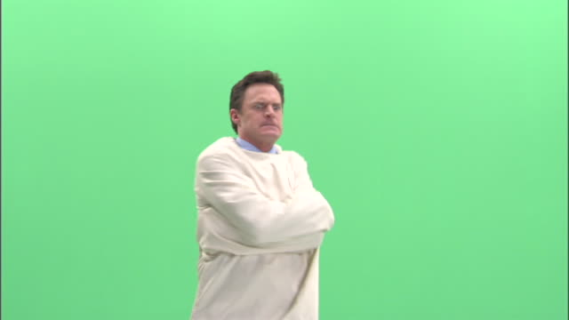 MS, Man in straitjacket in studio