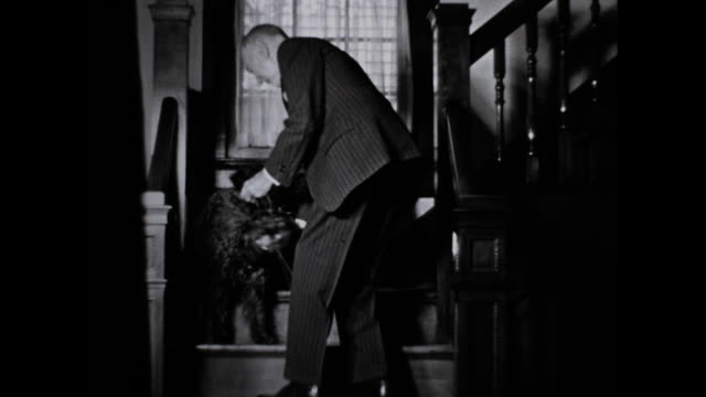 man in suit carrying a leash walks down the stairs. the man attaches leash to black dog. - full suit stock videos & royalty-free footage