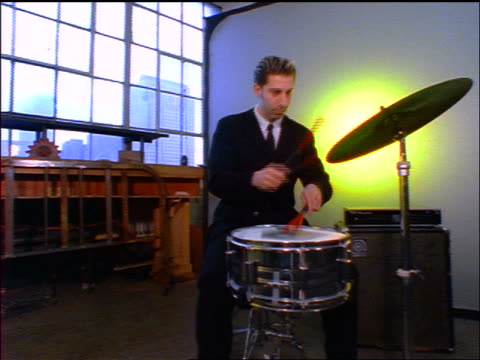man in suit playing snare drum + cymbal with brushes in studio - music video stock videos & royalty-free footage