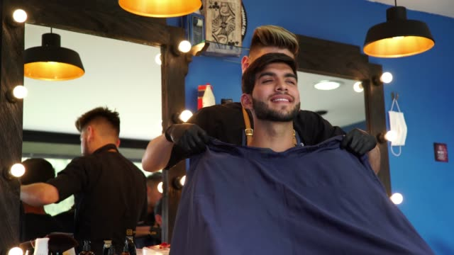 man in the barber shop - apron stock videos & royalty-free footage