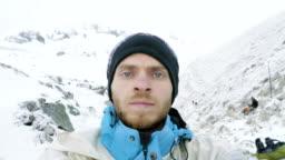 Man in the mountains of Nepal. Manaslu circuit trek, Larke pass, 5100m altitude.