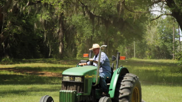 ms pan man in tractor working outdoors / madison, florida, usa - 中年の男性だけ点の映像素材/bロール